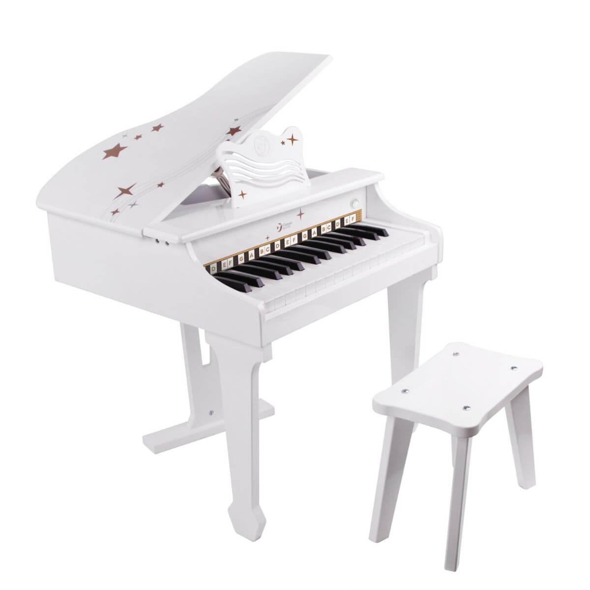 Piano de madera blanco