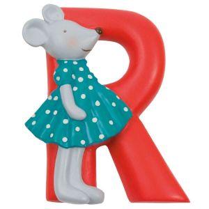 Letra infantil de resina R rojo Moulin Roty